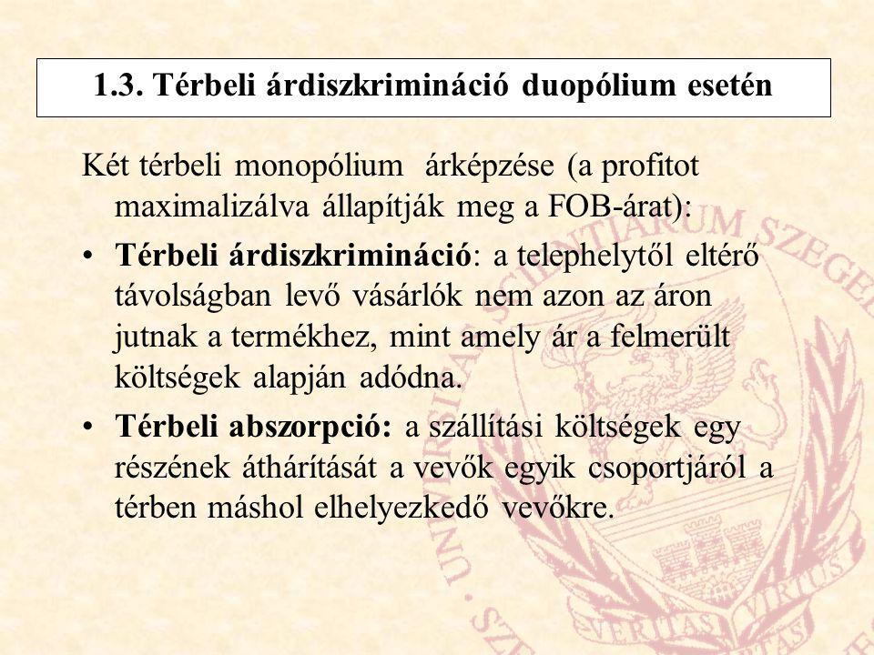 1.3. Térbeli árdiszkrimináció duopólium esetén