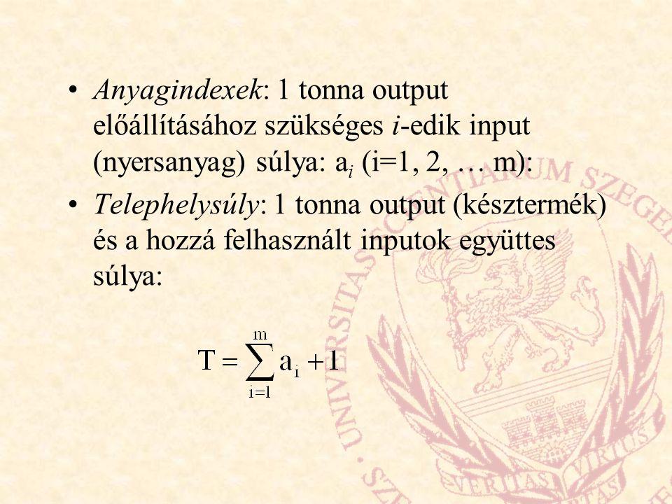 Anyagindexek: 1 tonna output előállításához szükséges i-edik input (nyersanyag) súlya: ai (i=1, 2, … m):