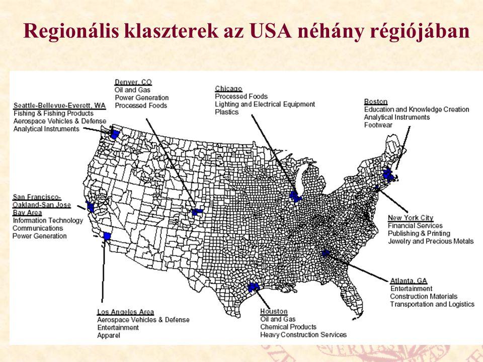 Regionális klaszterek az USA néhány régiójában