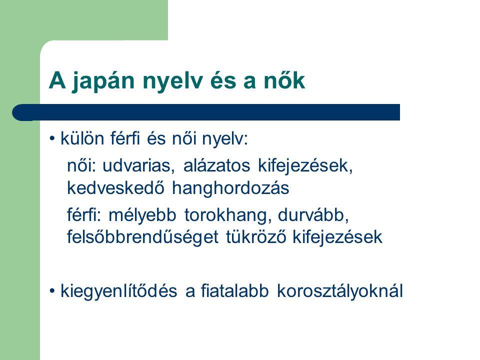 A japán nyelv és a nők • külön férfi és női nyelv: