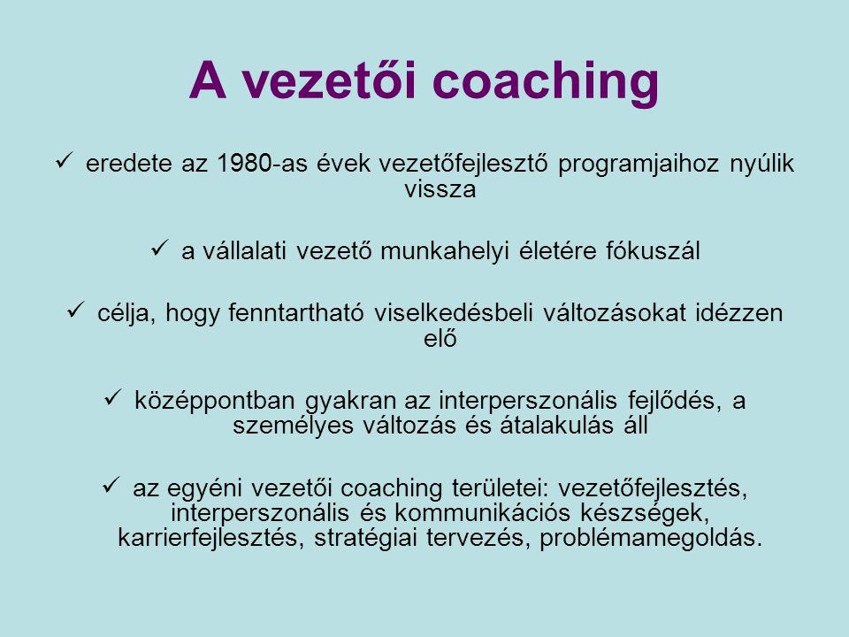 A vezetői coaching eredete az 1980-as évek vezetőfejlesztő programjaihoz nyúlik vissza. a vállalati vezető munkahelyi életére fókuszál.