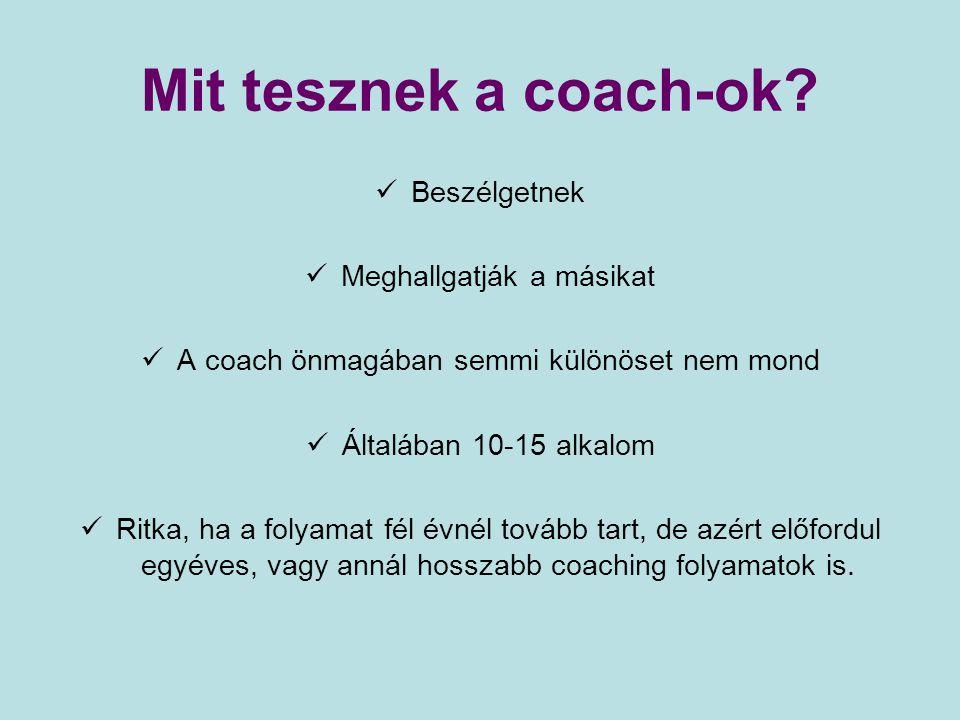 Mit tesznek a coach-ok Beszélgetnek Meghallgatják a másikat