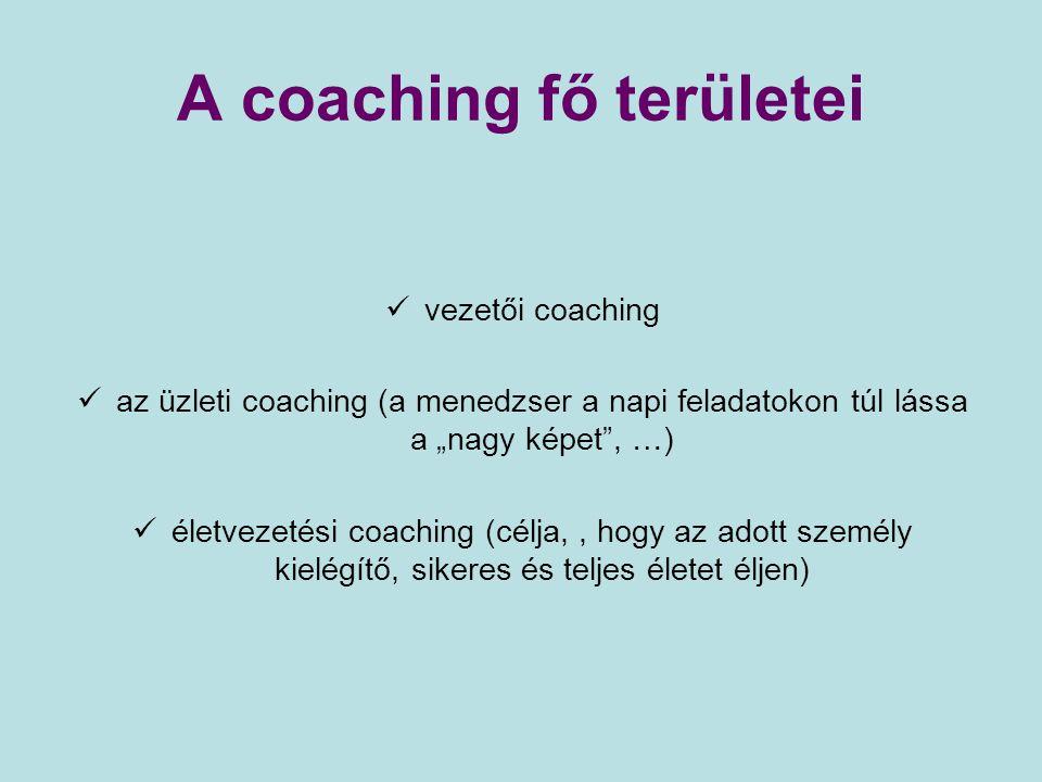 A coaching fő területei