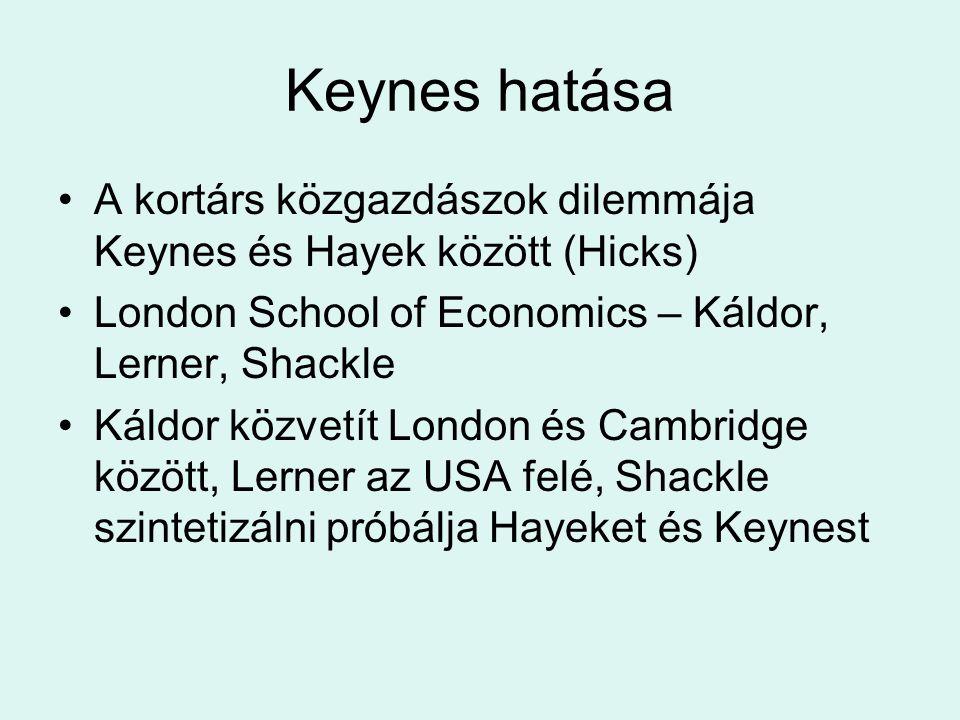Keynes hatása A kortárs közgazdászok dilemmája Keynes és Hayek között (Hicks) London School of Economics – Káldor, Lerner, Shackle.