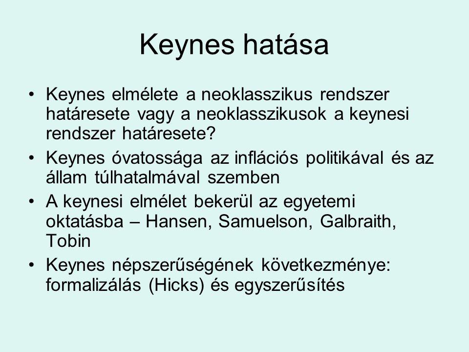 Keynes hatása Keynes elmélete a neoklasszikus rendszer határesete vagy a neoklasszikusok a keynesi rendszer határesete