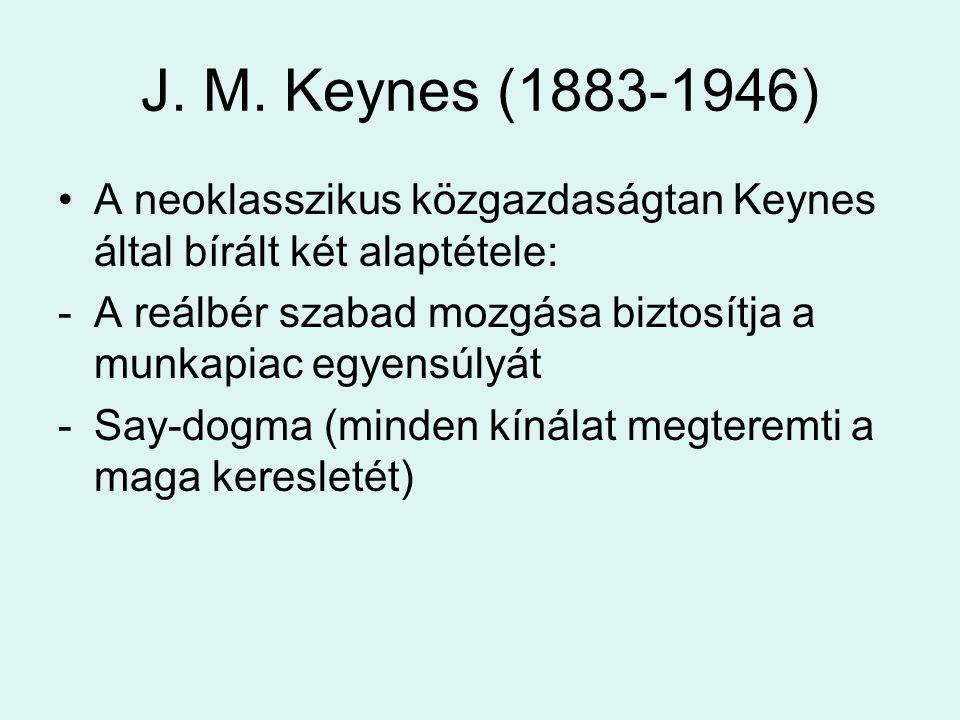 J. M. Keynes (1883-1946) A neoklasszikus közgazdaságtan Keynes által bírált két alaptétele: