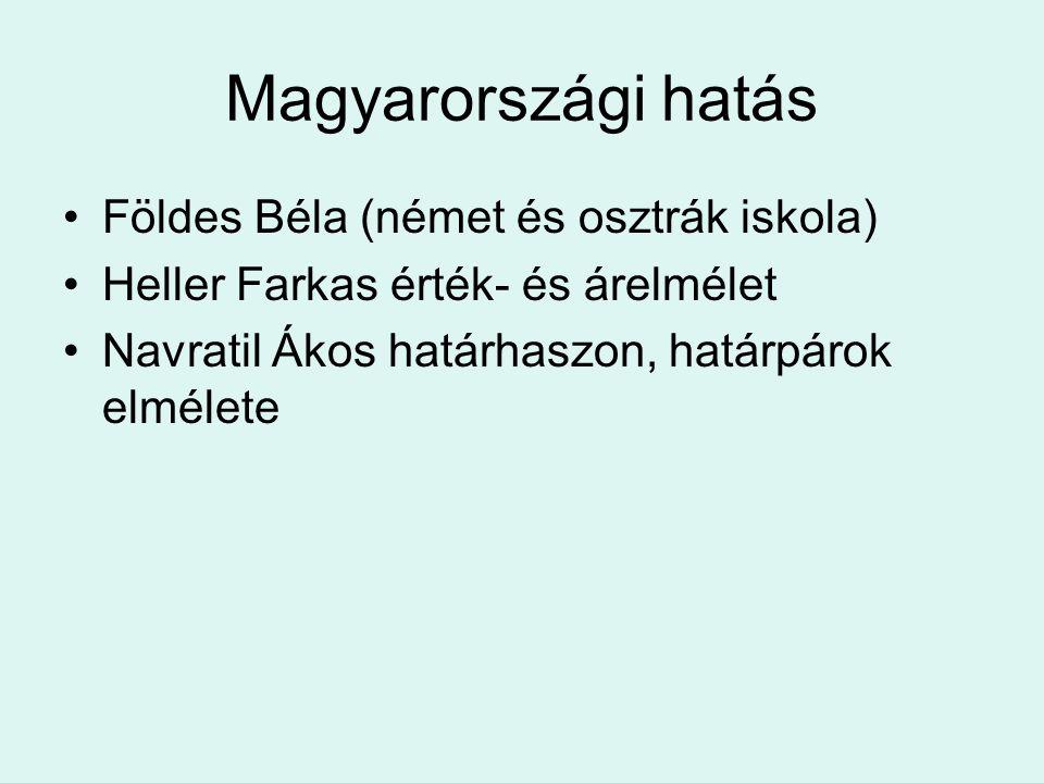 Magyarországi hatás Földes Béla (német és osztrák iskola)