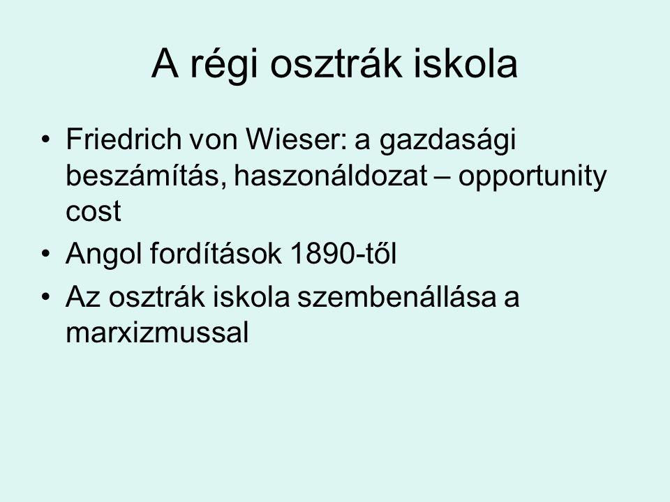 A régi osztrák iskola Friedrich von Wieser: a gazdasági beszámítás, haszonáldozat – opportunity cost.