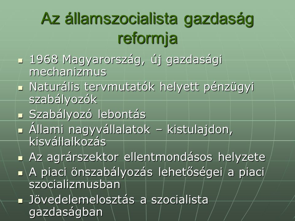 Az államszocialista gazdaság reformja