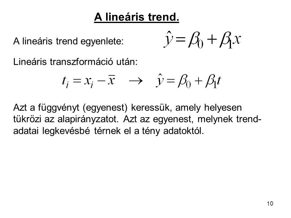 A lineáris trend. A lineáris trend egyenlete:
