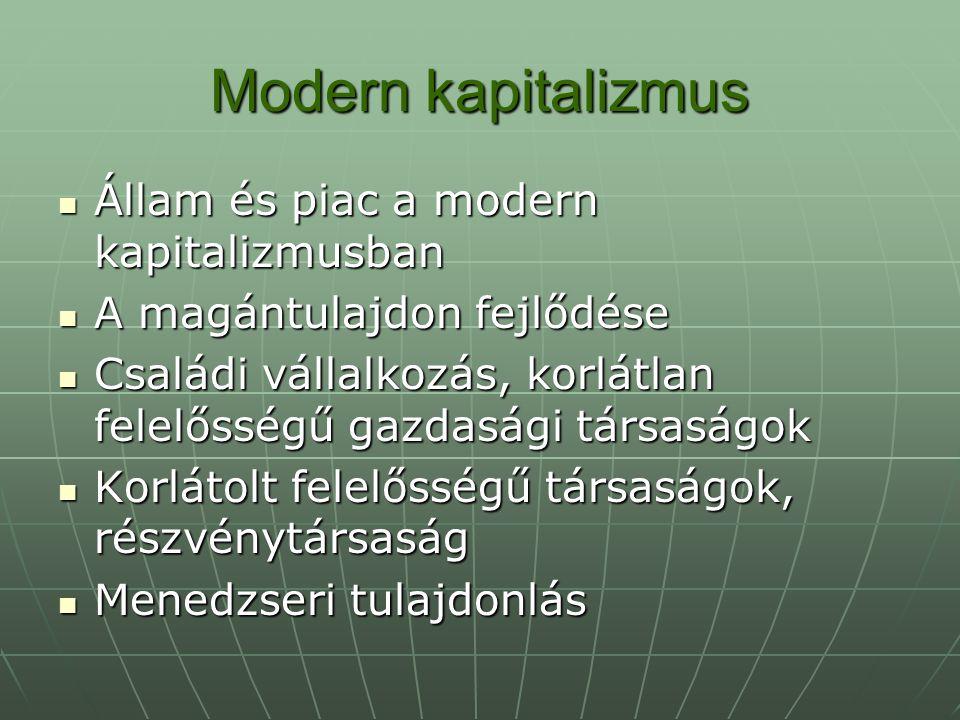 Modern kapitalizmus Állam és piac a modern kapitalizmusban