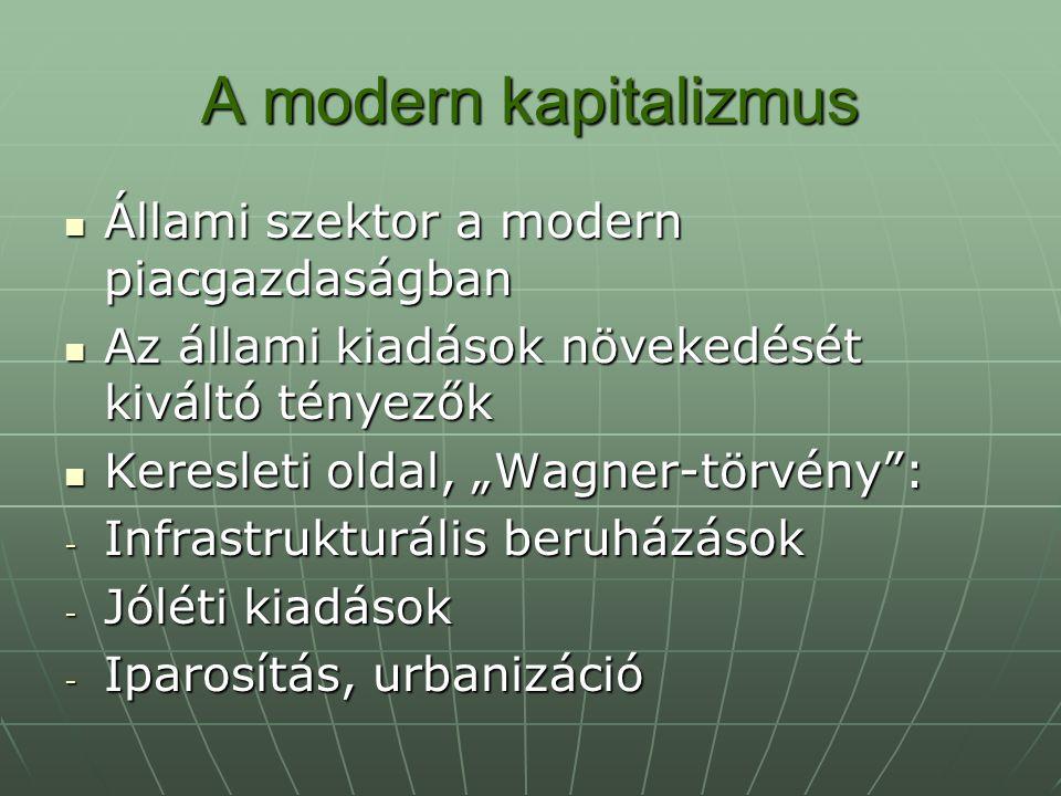 A modern kapitalizmus Állami szektor a modern piacgazdaságban
