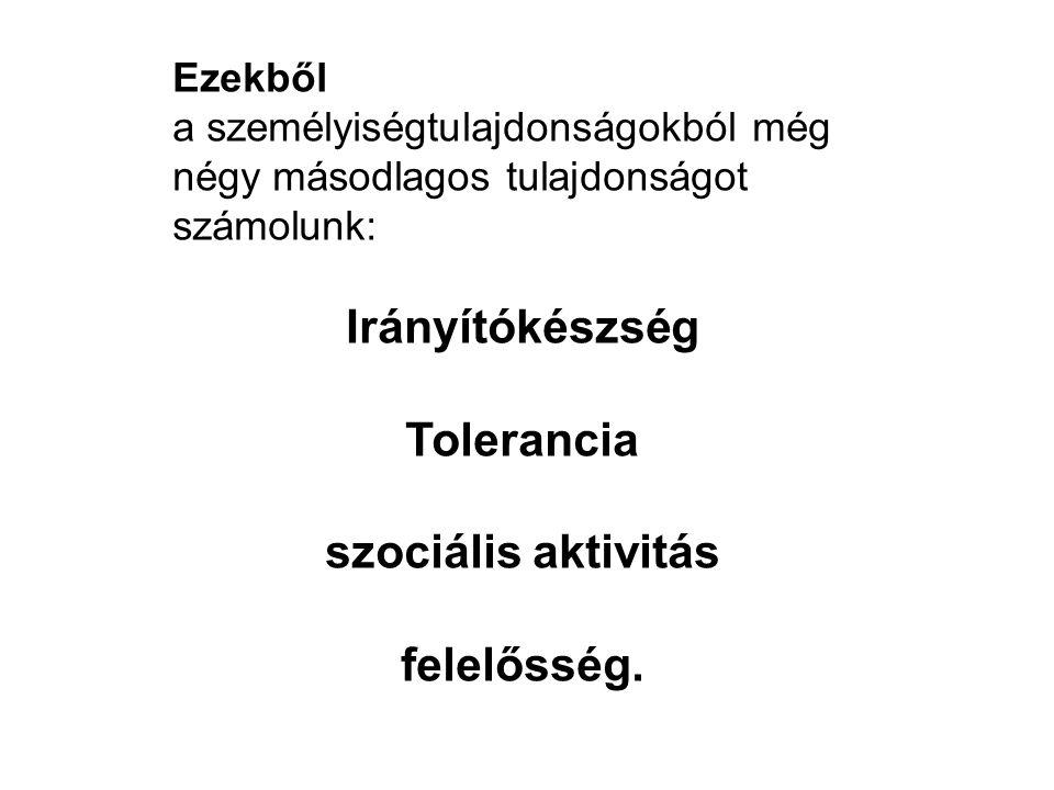 Irányítókészség Tolerancia szociális aktivitás felelősség.