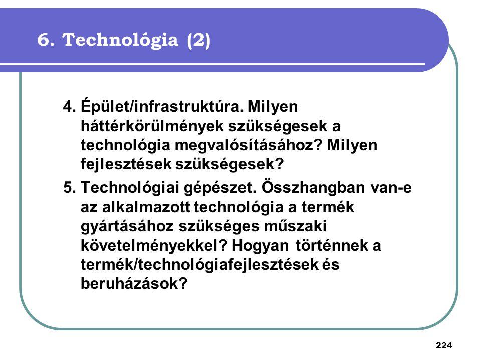 6. Technológia (2) 4. Épület/infrastruktúra. Milyen háttérkörülmények szükségesek a technológia megvalósításához Milyen fejlesztések szükségesek