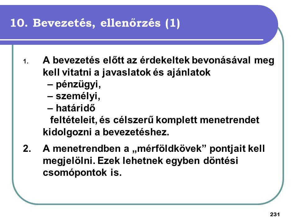 10. Bevezetés, ellenőrzés (1)