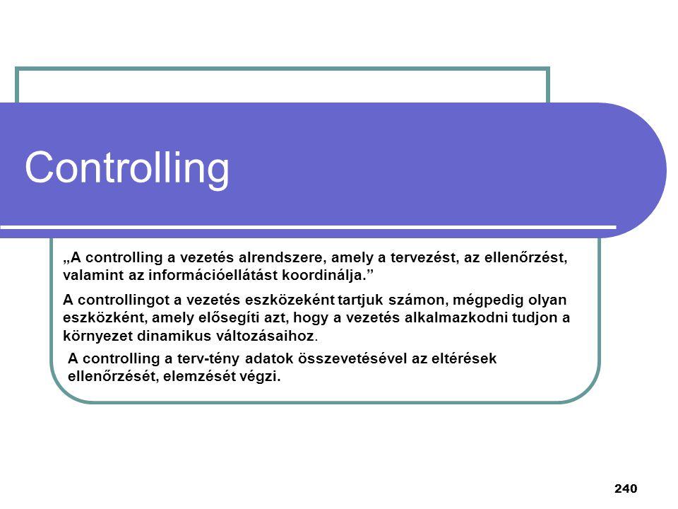 """Controlling """"A controlling a vezetés alrendszere, amely a tervezést, az ellenőrzést, valamint az információellátást koordinálja."""