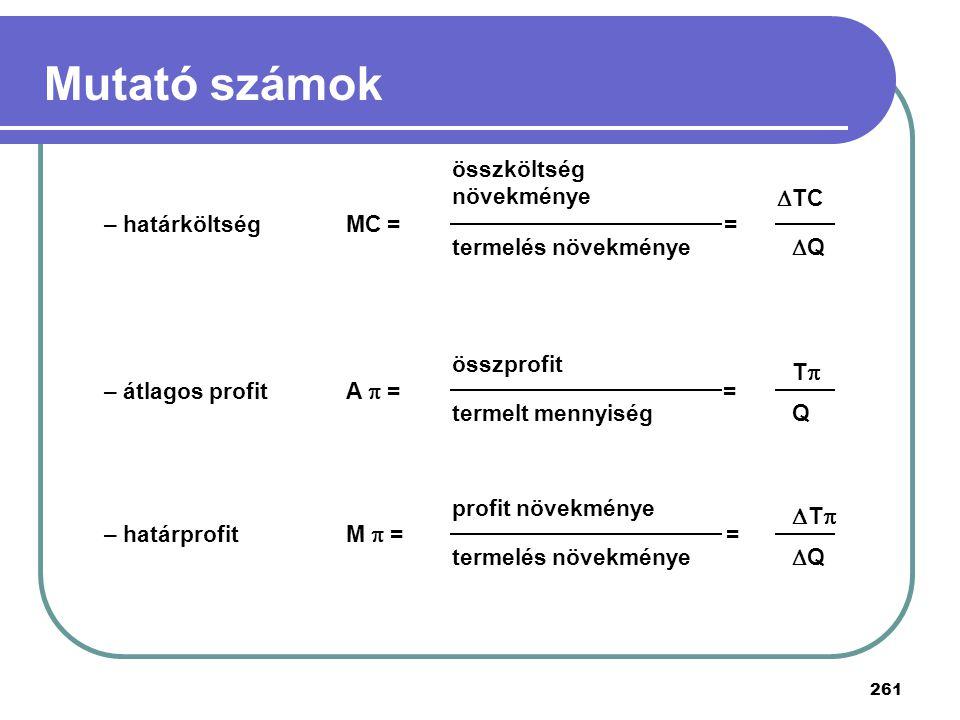 Mutató számok T T összköltség növekménye – határköltség TC MC = =