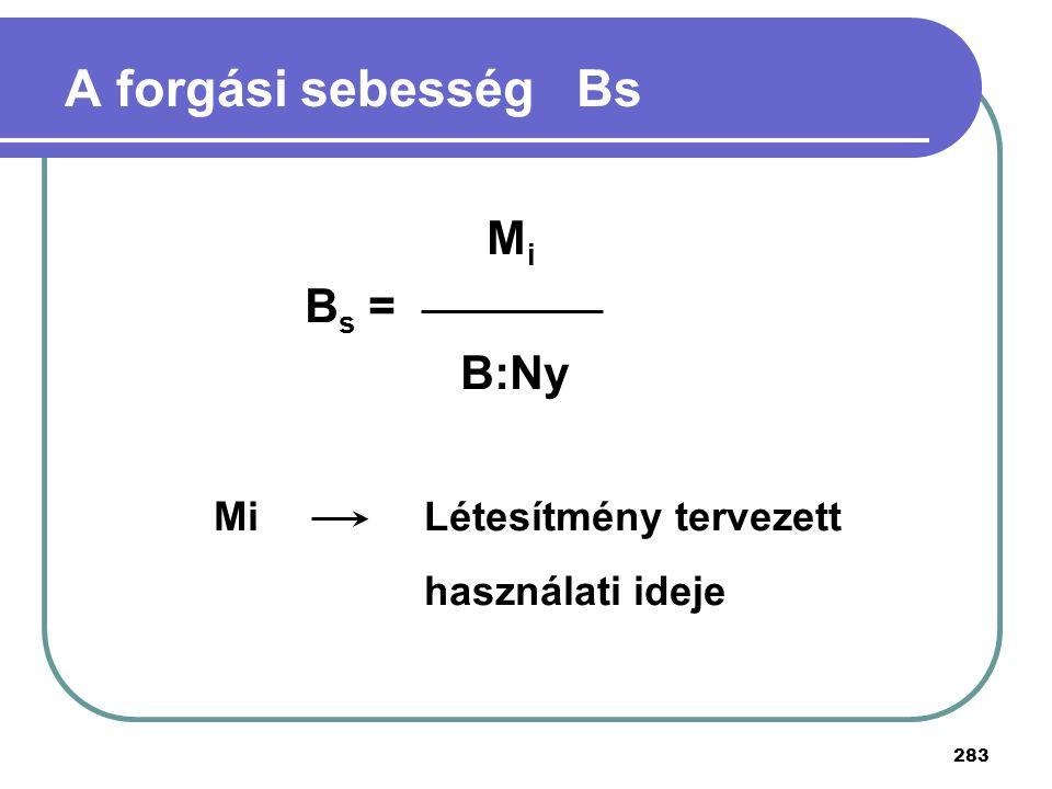A forgási sebesség Bs Mi Bs = B:Ny Mi Létesítmény tervezett