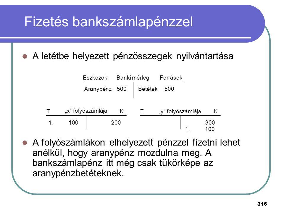 Fizetés bankszámlapénzzel