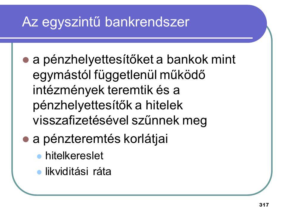 Az egyszintű bankrendszer