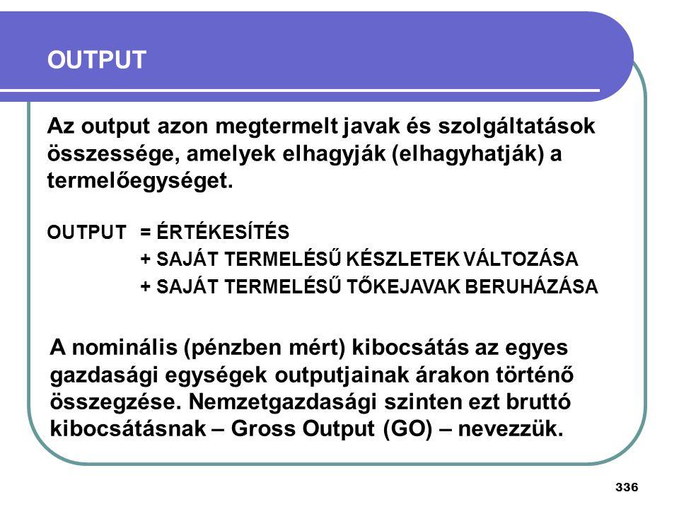 OUTPUT Az output azon megtermelt javak és szolgáltatások összessége, amelyek elhagyják (elhagyhatják) a termelőegységet.