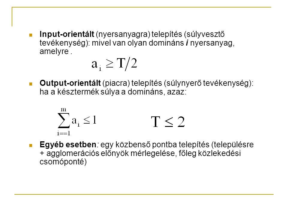 Input-orientált (nyersanyagra) telepítés (súlyvesztő tevékenység): mivel van olyan domináns i nyersanyag, amelyre .