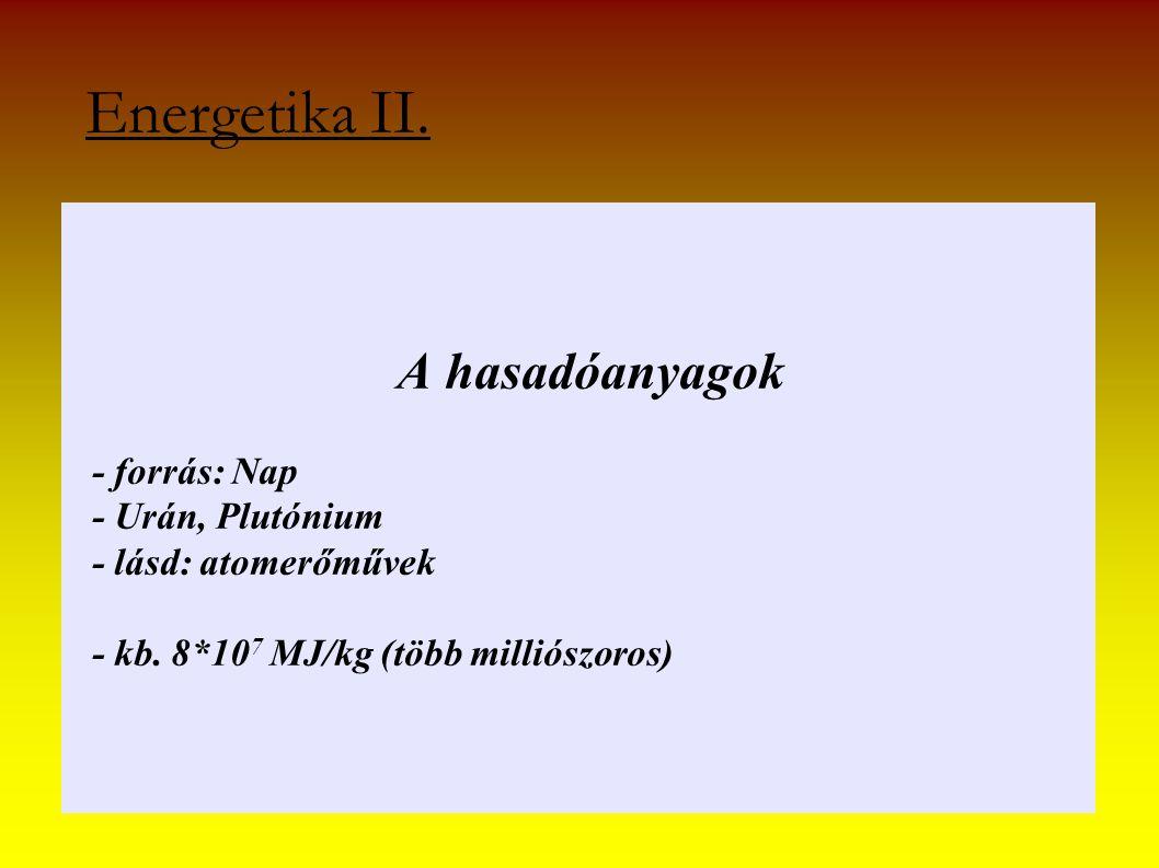 Energetika II. A hasadóanyagok - forrás: Nap - Urán, Plutónium