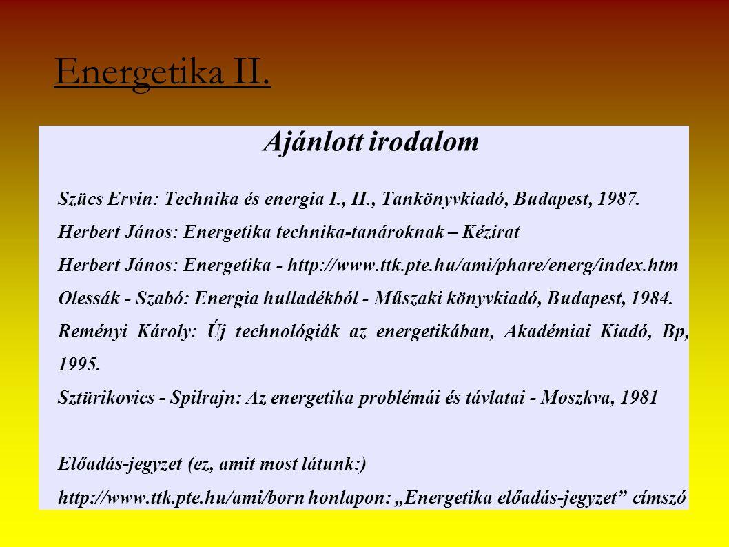 Energetika II. Ajánlott irodalom