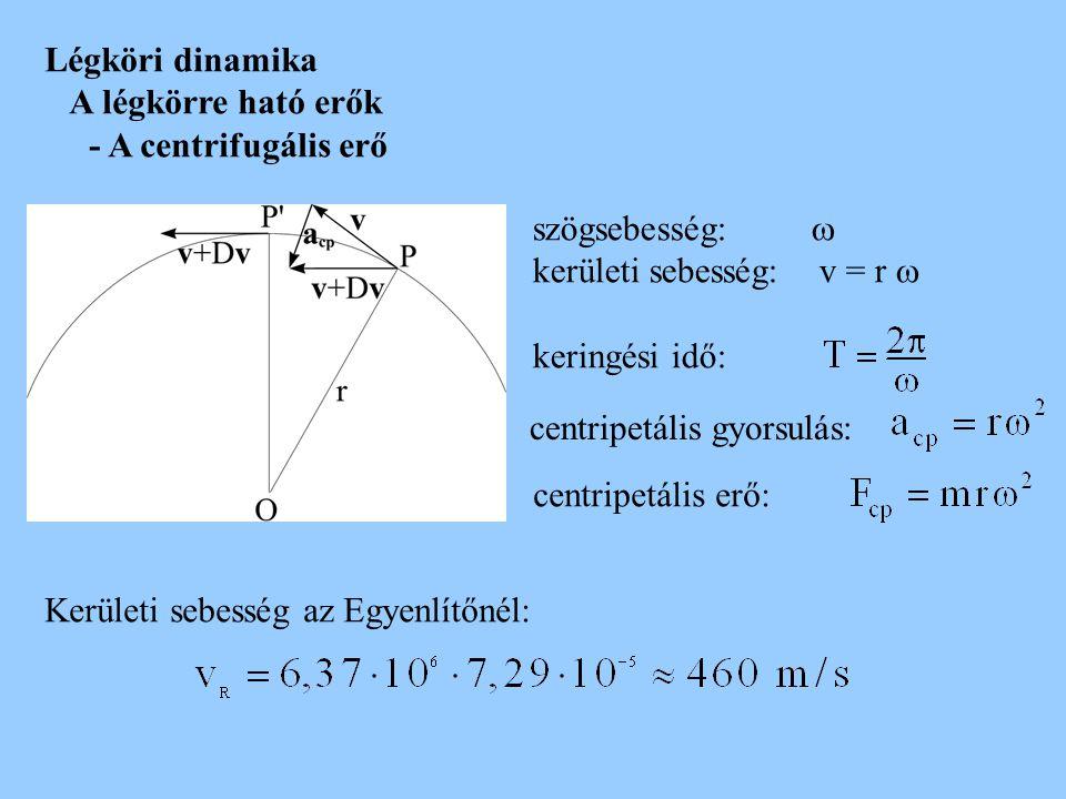 Légköri dinamika A légkörre ható erők. - A centrifugális erő. szögsebesség:  kerületi sebesség: v = r 