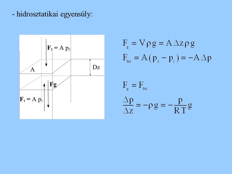 - hidrosztatikai egyensúly: