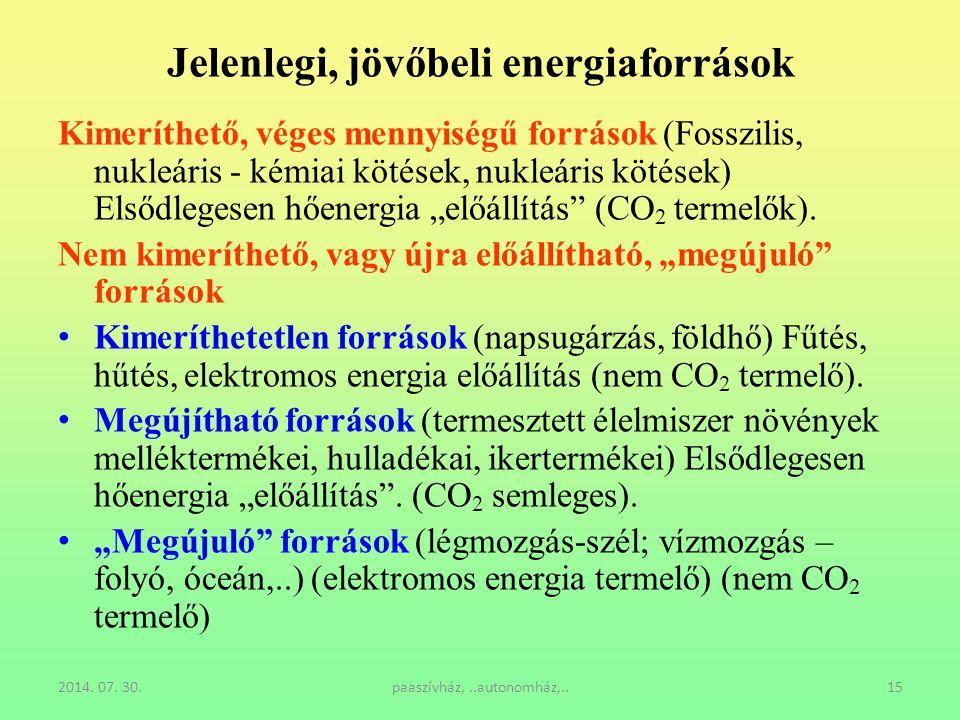 Jelenlegi, jövőbeli energiaforrások