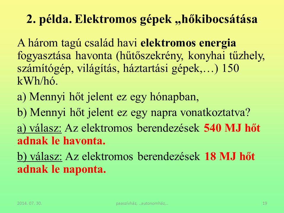 """2. példa. Elektromos gépek """"hőkibocsátása"""