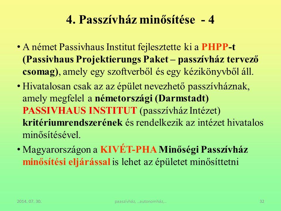 4. Passzívház minősítése - 4