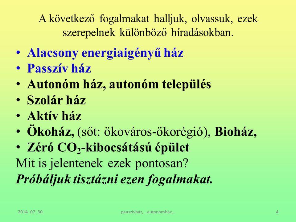 Alacsony energiaigényű ház Passzív ház Autonóm ház, autonóm település