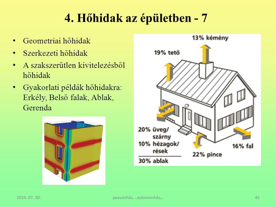 4. Hőhidak az épületben - 7 Geometriai hőhidak Szerkezeti hőhidak