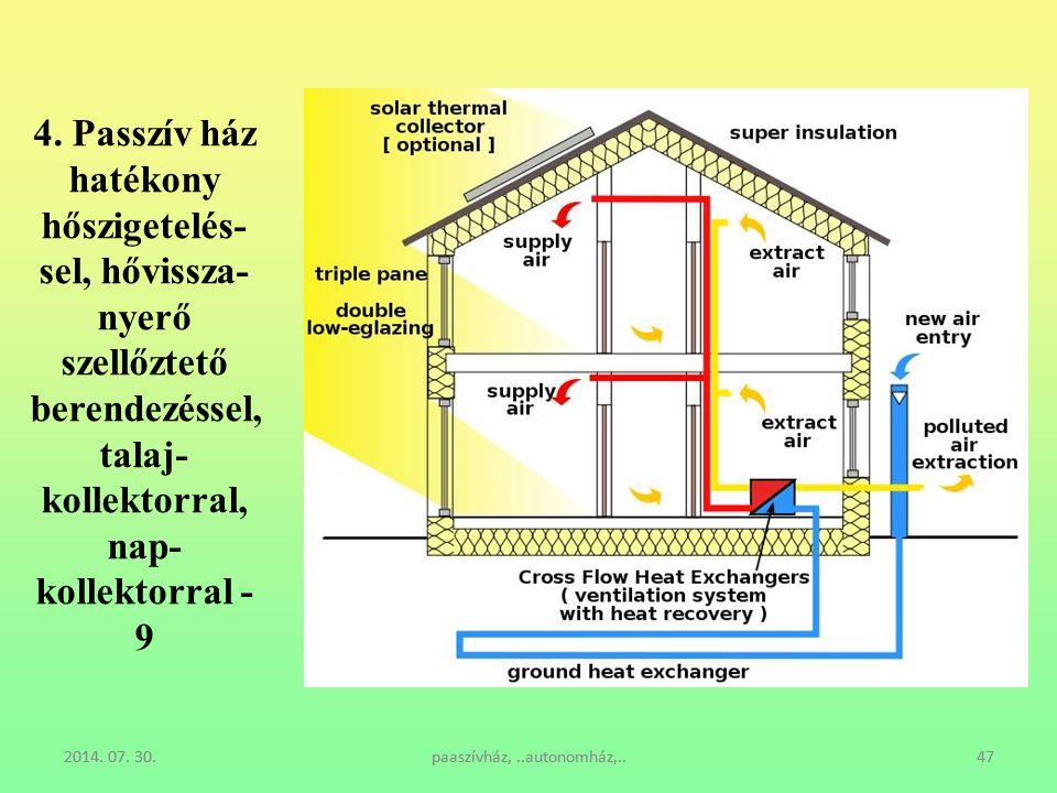 4. Passzív ház hatékony hőszigetelés-sel, hővissza-nyerő szellőztető berendezéssel, talaj-kollektorral, nap-kollektorral - 9