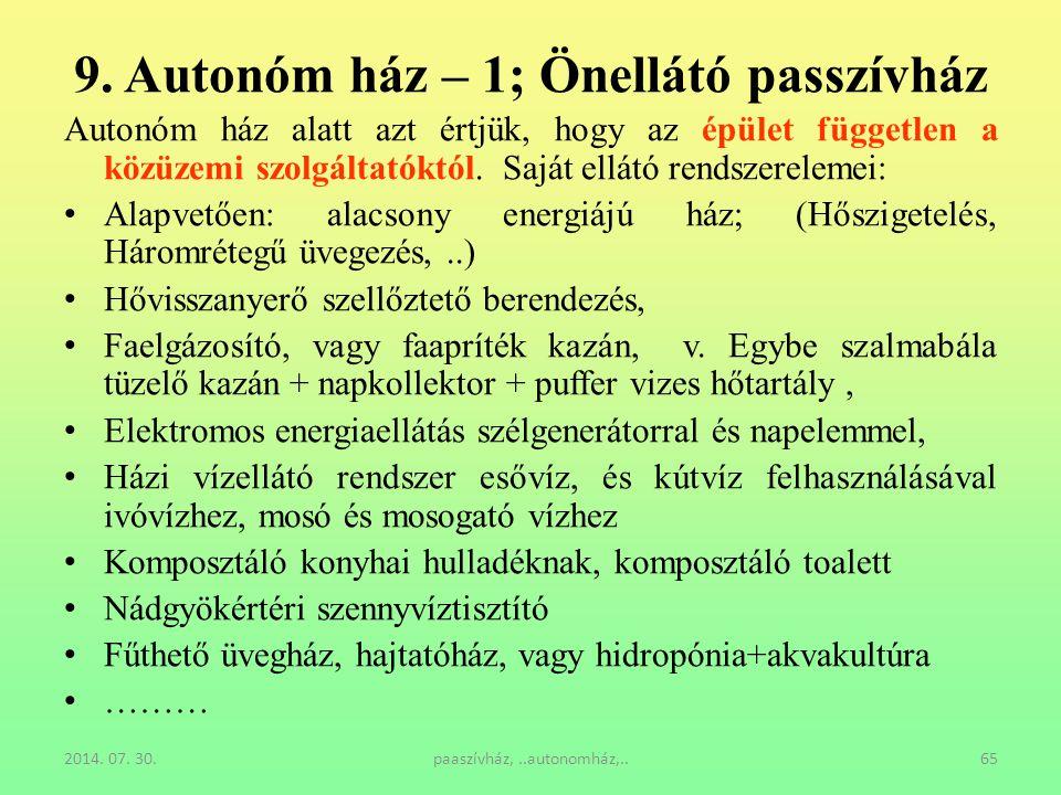 9. Autonóm ház – 1; Önellátó passzívház