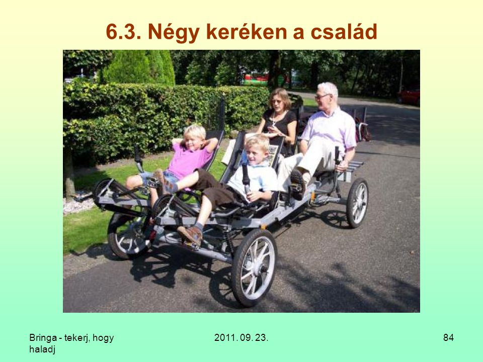 6.3. Négy keréken a család Bringa - tekerj, hogy haladj 2011. 09. 23.
