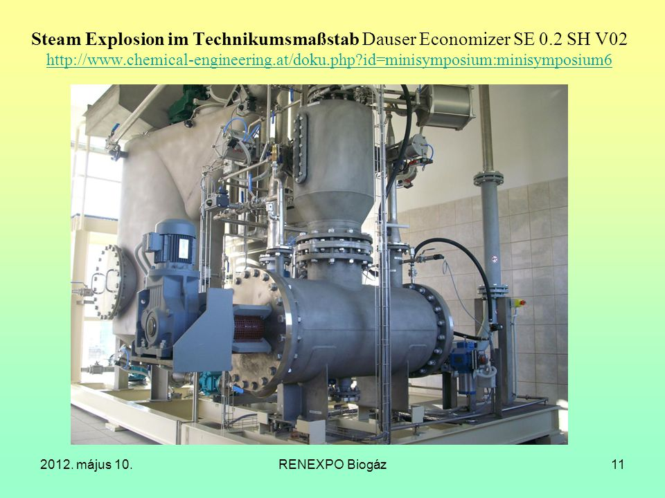 Steam Explosion im Technikumsmaßstab Dauser Economizer SE 0