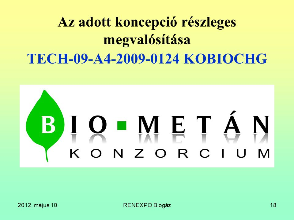Az adott koncepció részleges megvalósítása TECH-09-A4-2009-0124 KOBIOCHG