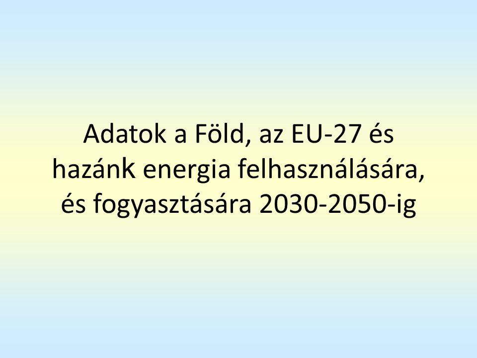 Adatok a Föld, az EU-27 és hazánk energia felhasználására, és fogyasztására 2030-2050-ig