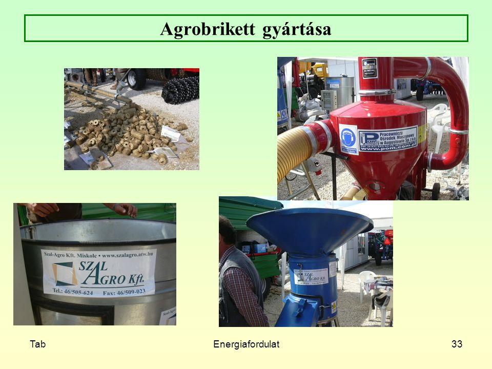 Agrobrikett gyártása Tab Energiafordulat