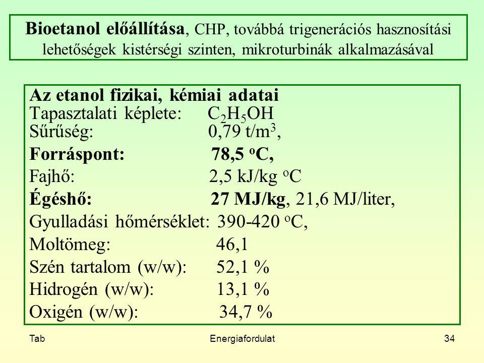 Az etanol fizikai, kémiai adatai Tapasztalati képlete: C2H5OH