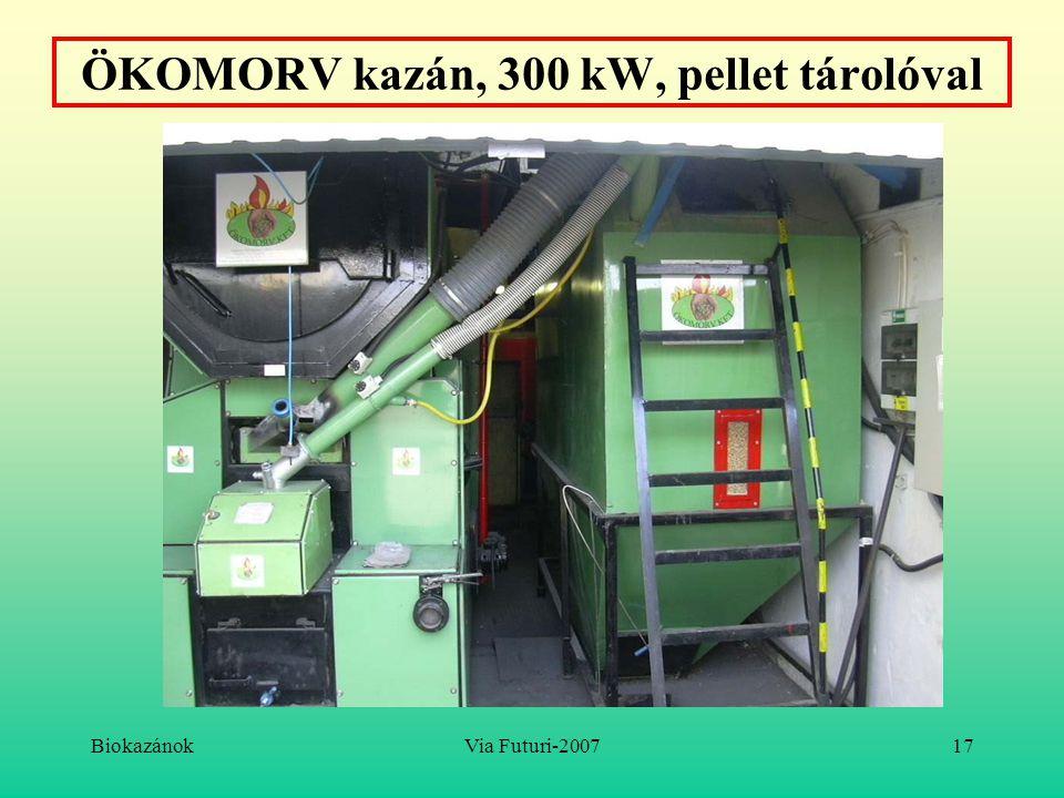 ÖKOMORV kazán, 300 kW, pellet tárolóval