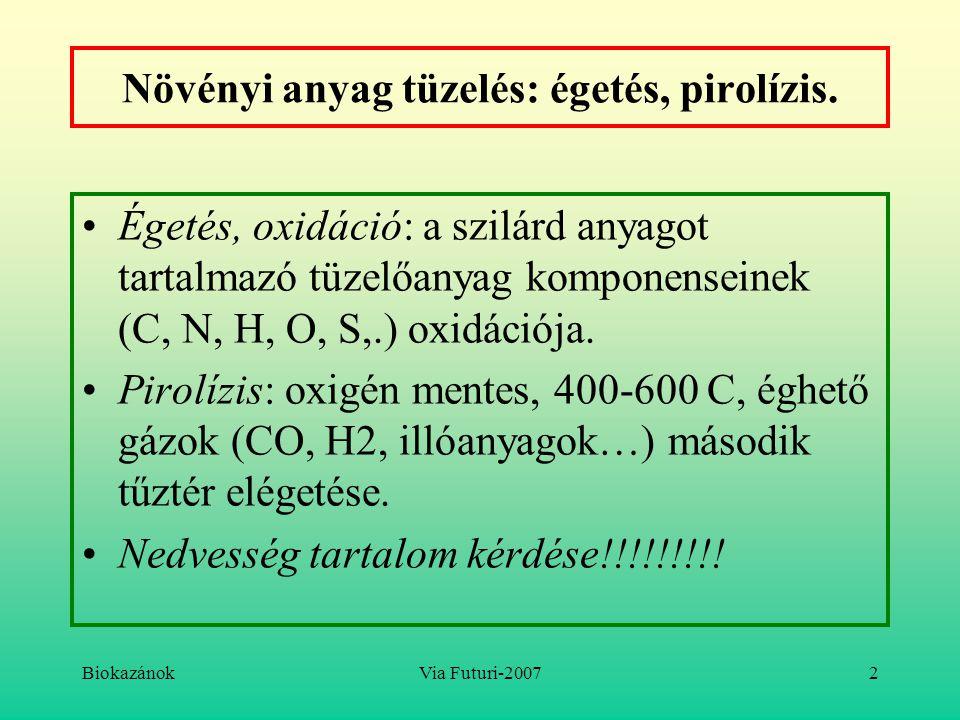 Növényi anyag tüzelés: égetés, pirolízis.