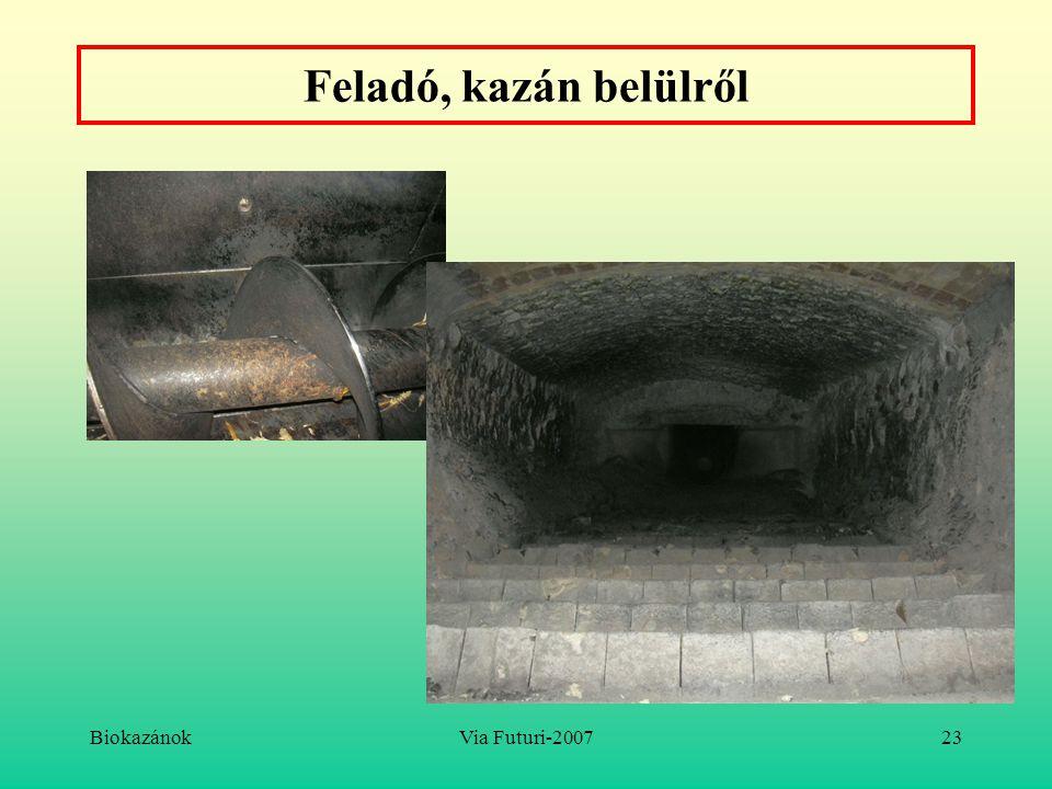Feladó, kazán belülről Biokazánok Via Futuri-2007