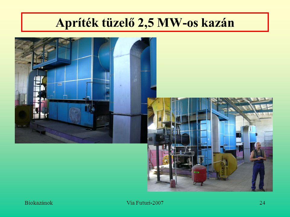 Apríték tüzelő 2,5 MW-os kazán