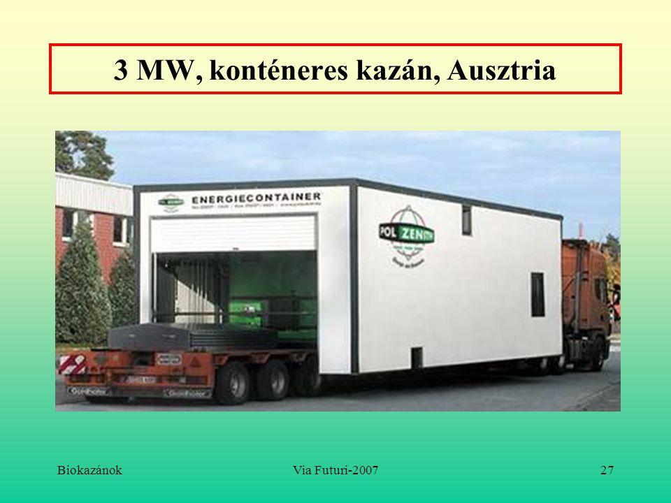 3 MW, konténeres kazán, Ausztria