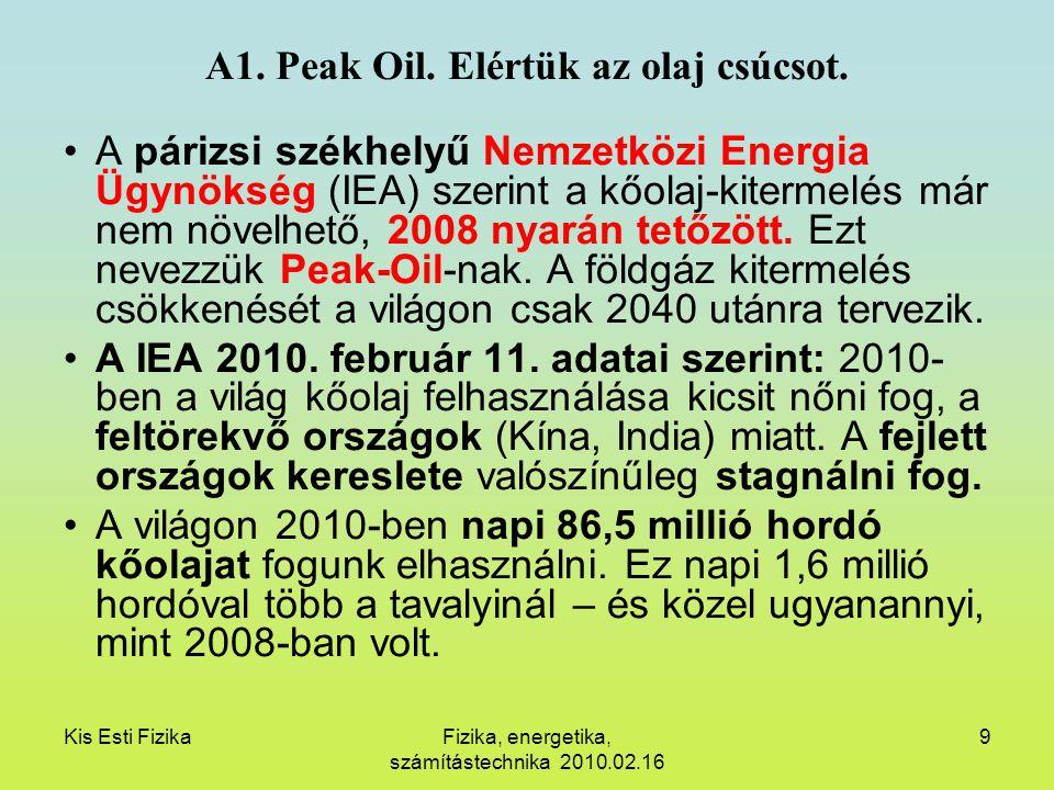 A1. Peak Oil. Elértük az olaj csúcsot.