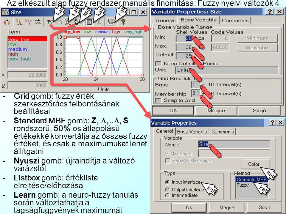 Grid gomb: fuzzy érték szerkesztőrács felbontásának beállításai